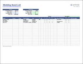 Excel Guest List Template Free Wedding Guest List Template