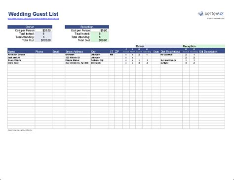 wedding guest list spreadsheet template free wedding guest list template