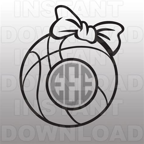 templates for vinyl cutters girls basketball bow monogram svg file cutting template clip