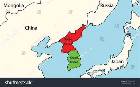 map of korea and surrounding countries south korea map surrounding countries stock vector