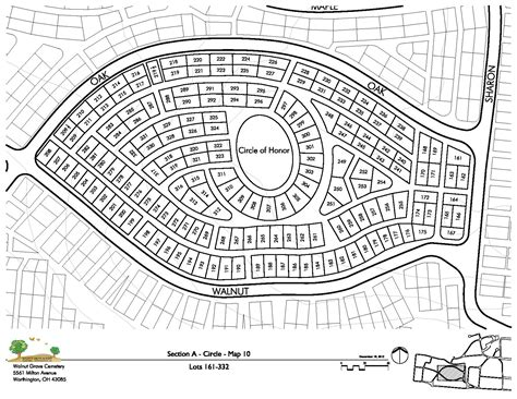 circle section walnut grove and flint cemeteries section maps