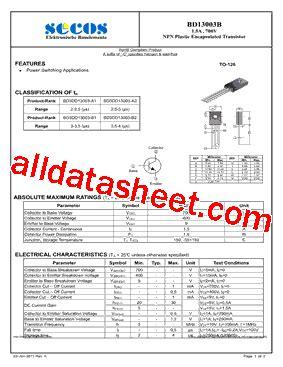 x13003 transistor datasheet bd13003b datasheet pdf secos halbleitertechnologie gmbh