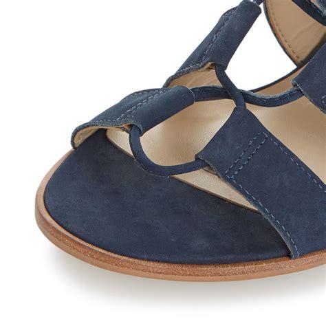 blue block heel sandals dune ivanna ghillie lace block heel sandals in blue navy