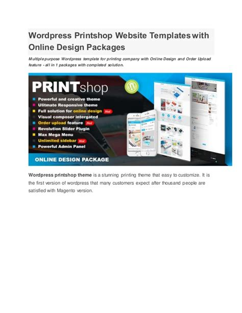 Wordpress Printshop Website Templates With Online Design Packages Printing Company Website Template