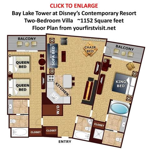 bay lake tower one bedroom villa floor plan sleeping space options and bed types at walt disney world