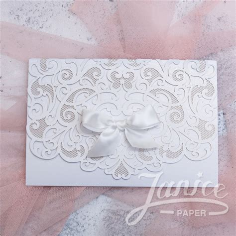 Wedding Invitations Pocket Personalized Vip Card by Custom Laser Cut Wedding Invitations Janicepaper