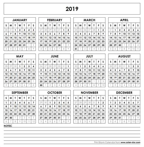 printable yearly calendar 2019 blank 2019 calendar printable calendar templates