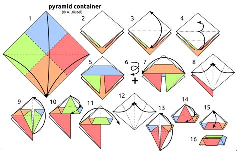 How To Make An Origami Pyramid - origami diagrams 169 a j 246 stel