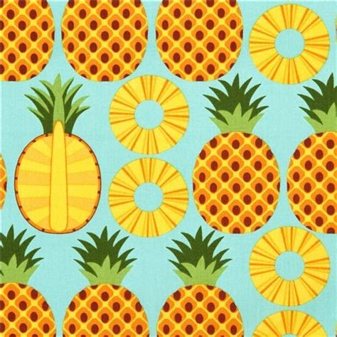 pineapple pattern hd aqua pineapple fruit fabric timeless treasures from the