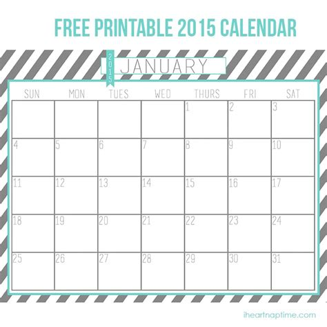 Free 2015 Printable Calendar By Month New Calendar Free Calendar Template For 2015