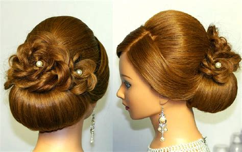 wedding prom hairstyle for long hair updo tutorial with