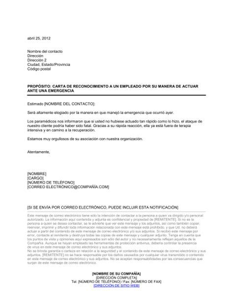 carta de reconocimiento y agradecimiento carta de reconocimiento a un empleado por desempe 241 o ante una emergencia modelos y ejemplo