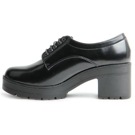 chunky platform sole black patent lace up