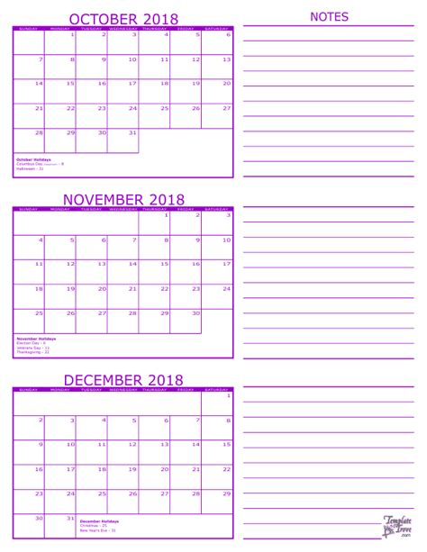 printable calendar 4th quarter 2015 3 month calendar 2018