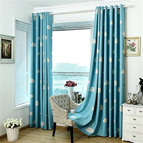Blue And White Curtains For Living Room Blue And White Cloud Blackout Curtains For Childrens