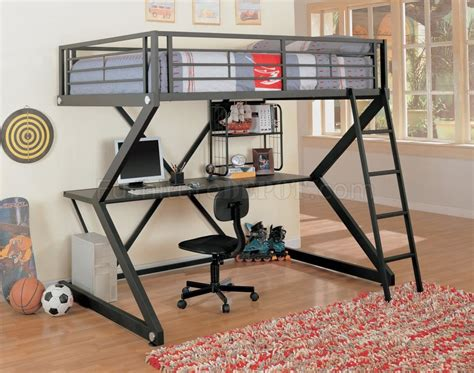 Bunk Bed W Desk Black Matte Finish Modern Bunk Bed W Desk Bookshelf