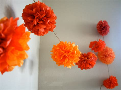 How To Make Paper Pom Pom Garland - orange mix diy tissue paper pom pom garland nursery
