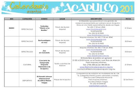cronograma de eventos 2016 jdccppcom calendario de actividades en acapulco