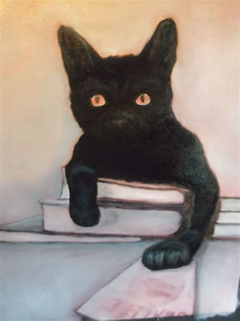 black cat art oil painting   black cat dream