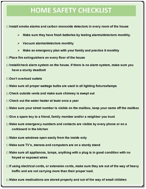 5 printable home safety checklist and worksheets word