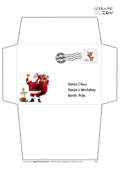 envelope for letter to santa claus craft black white