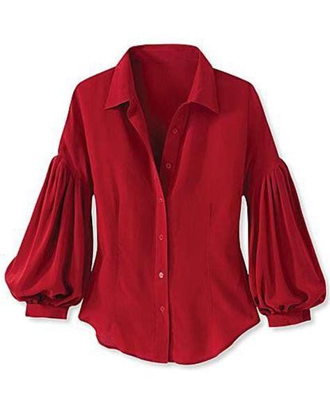 Season Blouse balloon sleeve blouse go silk pleated ruffle blouse