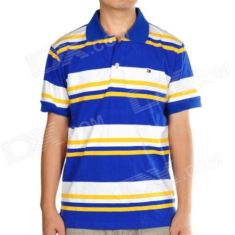26853 Yellow On Stripe Size L yellow and blue striped shirt our t shirt