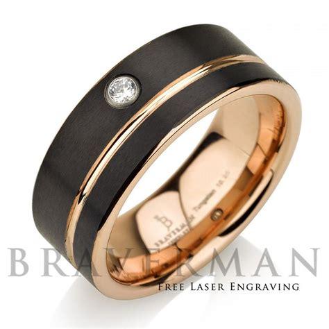 black tungsten wedding band 14k gold white
