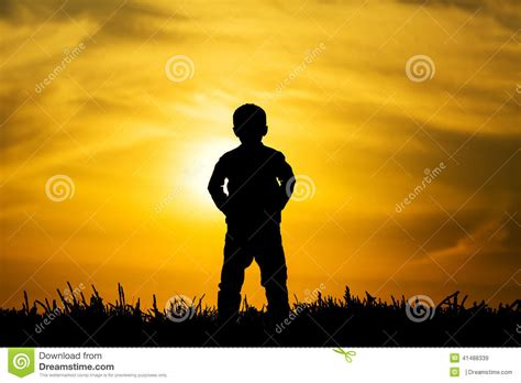 Shadow Boys silhouette boy on sunset stock photo image 41488339