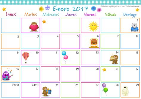 Calendario Enero 2017 Calendario Multicolor Enero 2017 Calendario Multicolor