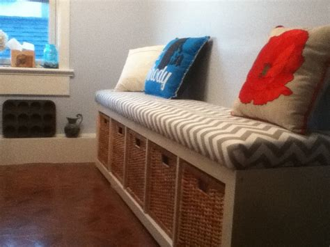 ikea bookshelf basket bench with a cushion