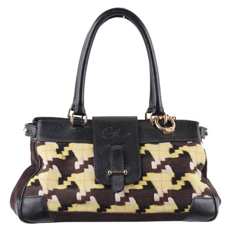 Fashion Doctor Bag 33049 1 Christian Lacroix Yellow And Brown Canvas And Leather Tote
