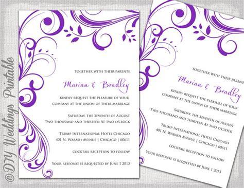 wedding details card template purple wedding invitation templates purple scroll by
