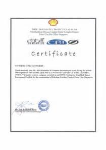 employment certificate shell ecc project singapore