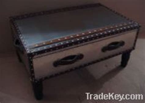 Stainless Steel With Real Leather Steamer Trunk Coffee Stainless Steel Trunk Coffee Table