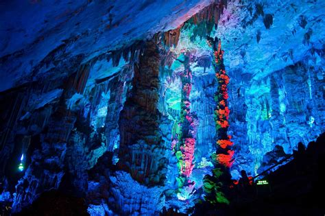 reed flute cave reed flute cave ludi yan guangxi china world for