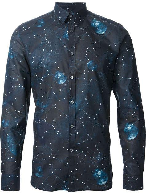 paul smith galaxy print shirt in blue for lyst