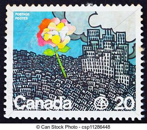 Porto Brief Schweiz Kanada Stock Foto Porto Briefmarke Kanada 1976 Blume Wachsen Stadt Csp11286448