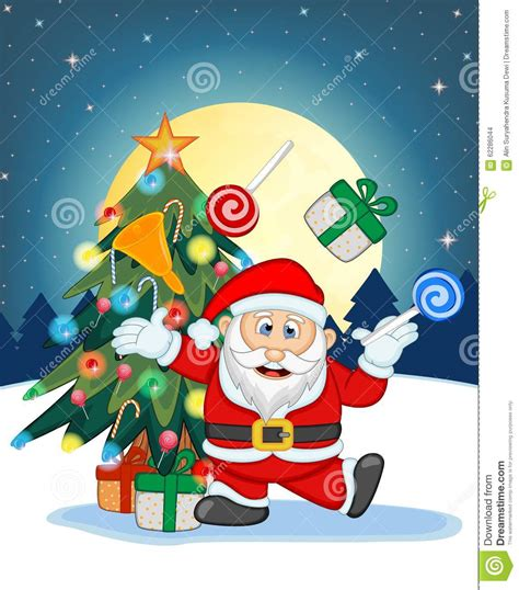 santa ckaus with snow decoration santa claus snow tree and moon at for your design vector illustration