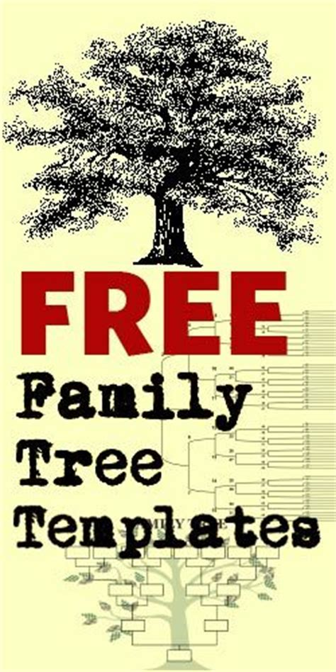 Free Family Tree Templates Crafts Pinterest Reunions Family Tree Templates And Tree Templates Free Family History Templates