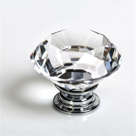 8x 40mm crystal glass door knob drawer cabinet kitchen