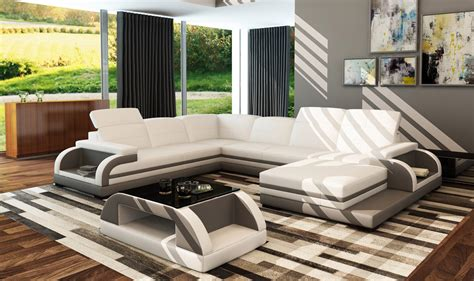 White And Grey Leather Sofa Divani Casa 5132b Modern White Grey Bonded Leather Sectional Sofa