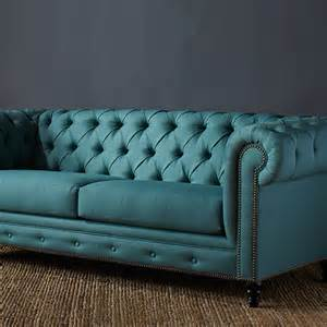 Nail Shop Turquoise Chesterfield Sofa
