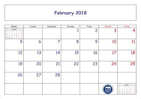 Calendar Template 2018 Pdf February Calendar 2018 Printable Template Pdf Jpg