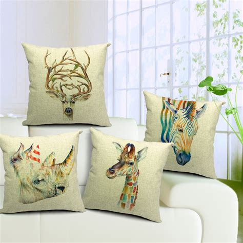 seat cushions for chairs deers cotton linen throw pillow