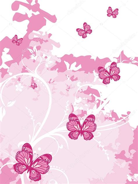 wallpaper butterfly pink vector pink artistic background with butterfly stock vector
