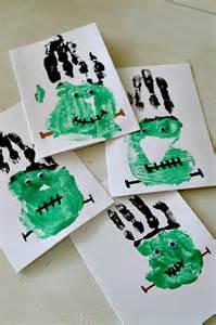 Pinterest Halloween Crafts - frankenstein handprints craft easy halloween