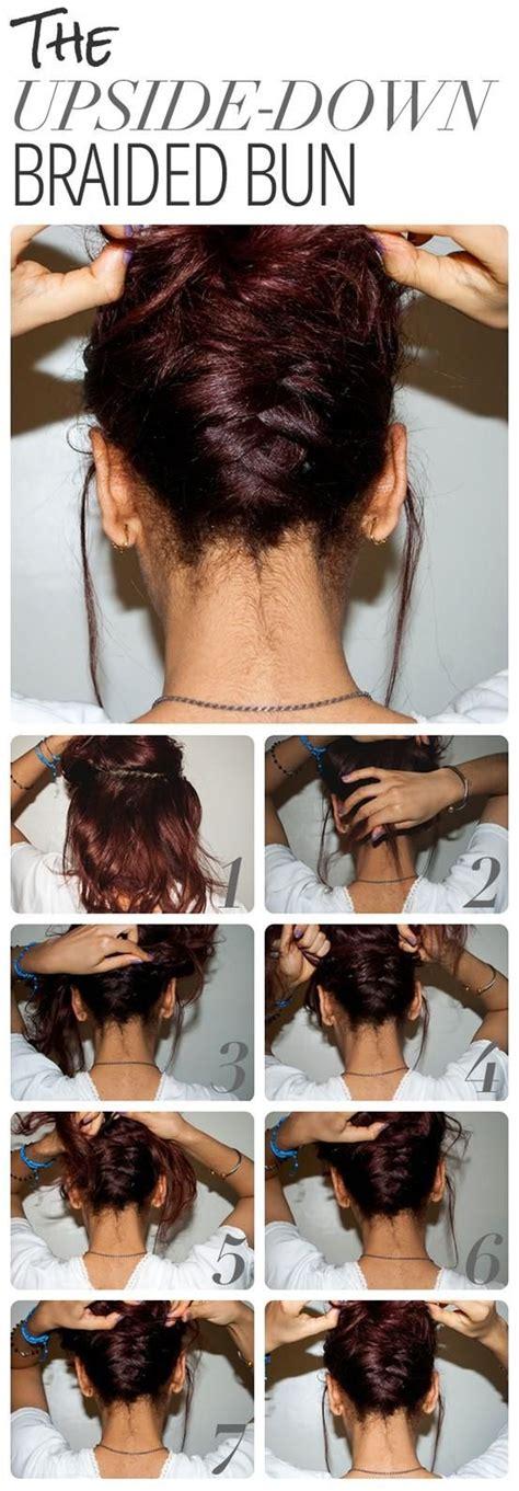 tutorial upside hairbun newbie upside down braided bun tutorial hairstyles pinterest
