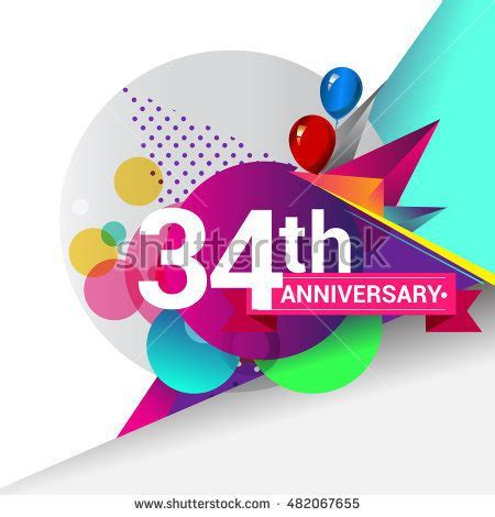 15th Anniversary Logo Colorful Geometric Background Stock