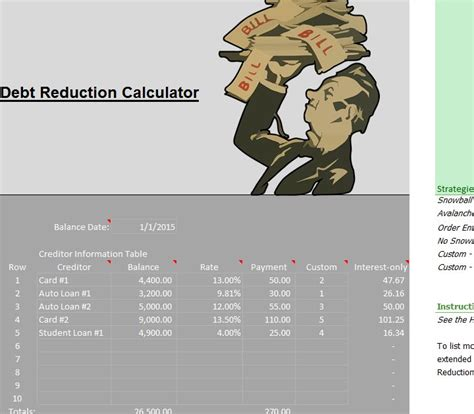 debt reduction calculator debt reduction calculator 187 template